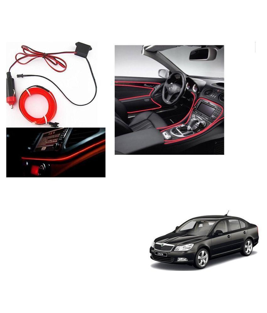 Auto Addict Red Color 12V 5Mtrs Roll Cold Light Car Socket Strip Neon Lamp Creator Decor Dashboard Interior Lighting For Skoda Laura