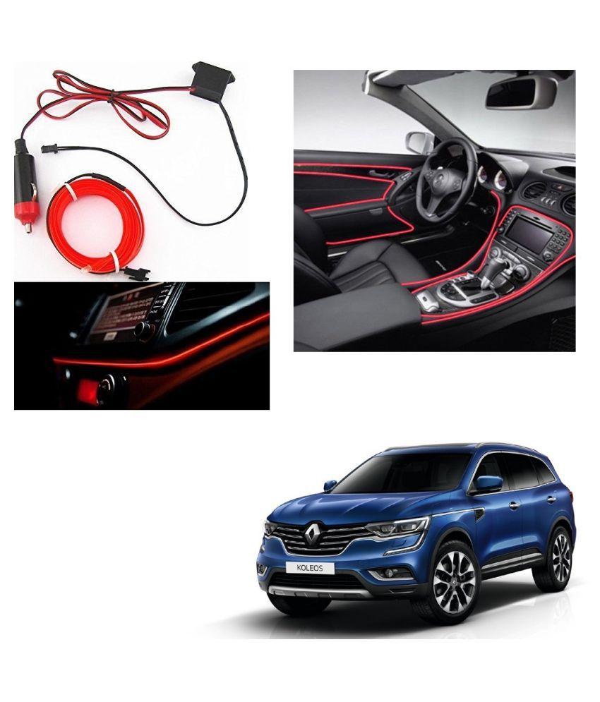 Auto Addict Red Color 12V 5Mtrs Roll Cold Light Car Socket Strip Neon Lamp Creator Decor Dashboard Interior Lighting For Renault Koleos