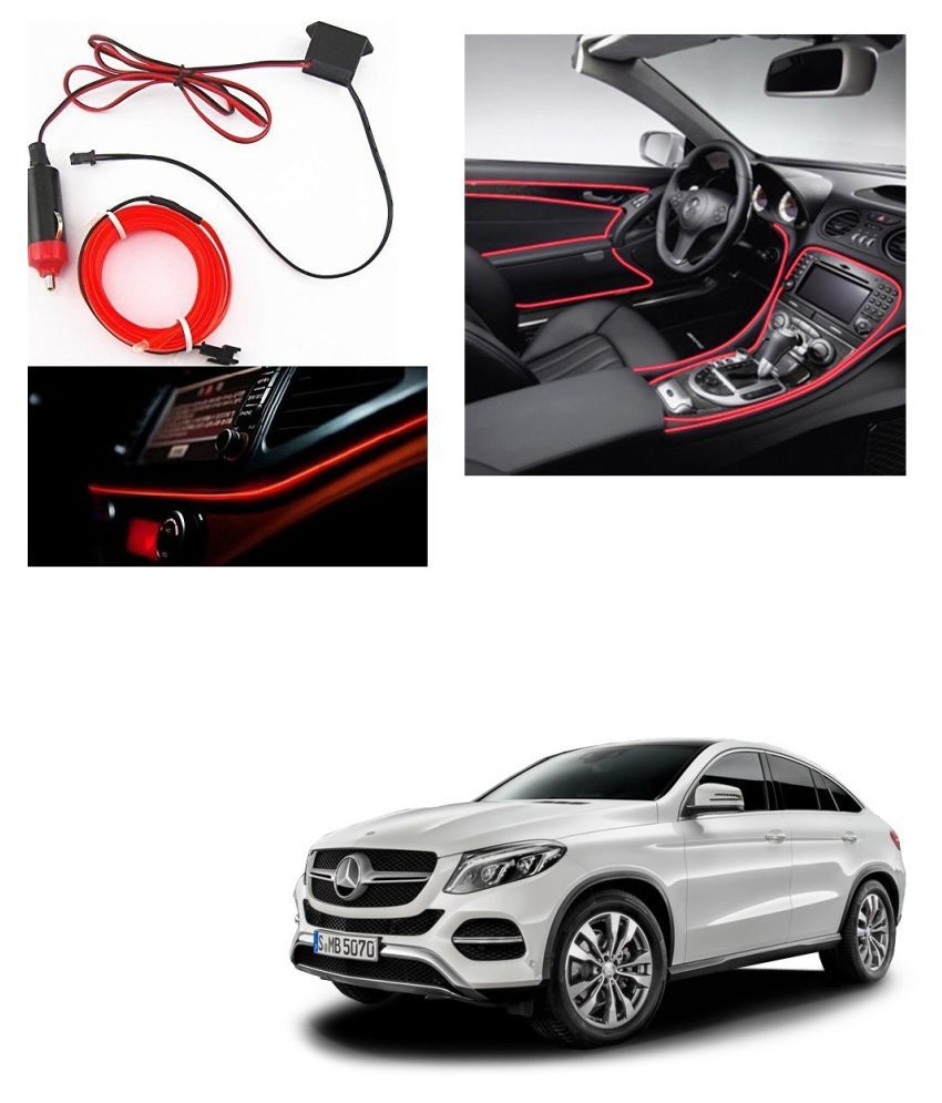 Auto Addict Red Color 12V 5Mtrs Roll Cold Light Car Socket Strip Neon Lamp Creator Decor Dashboard Interior Lighting For Mercedes Benz NA