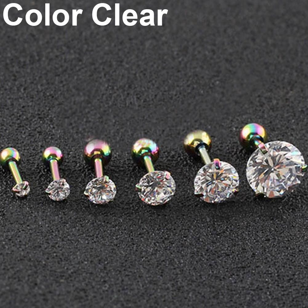 2 Pcs CZ 3 Prong Tragus Cartilage Stainless Steel Stud Earrings Piercing Jewelry Fashion Jewellery