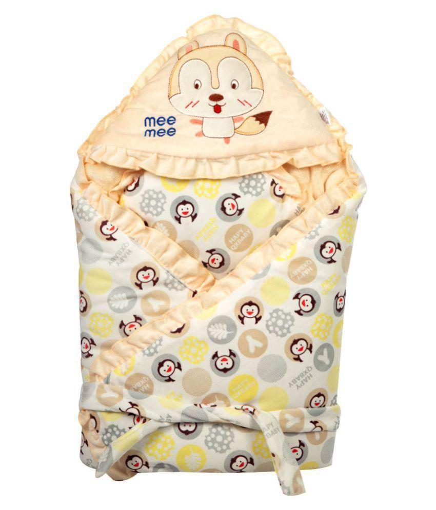 Mee Mee Yellow Cotton Baby Wrap cum blanket ( 42 cm × 5 cm - 1 pcs)