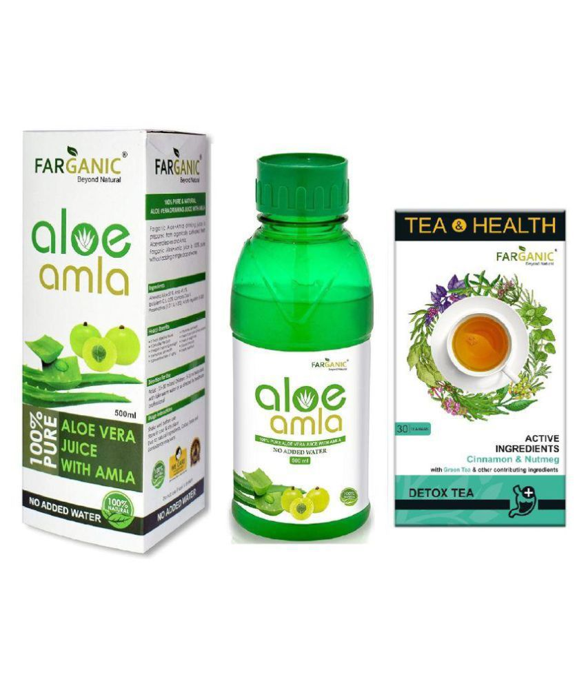 FARGANIC Combo Of Aloe Vera Amla Juice 500ml With Detox Green Tea 30 Tea Bags
