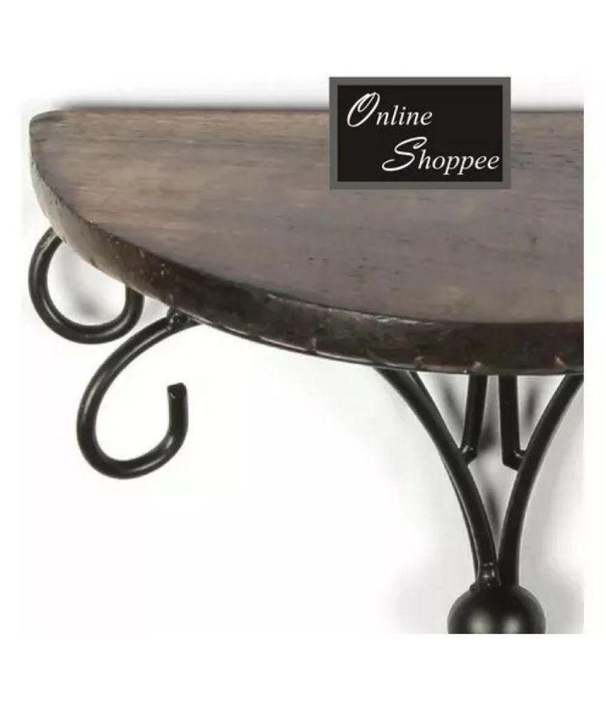Onlineshoppee Beautiful Wood  amp; Wrought Iron Fancy Brown Wooden Handicrafts Wall Shelf