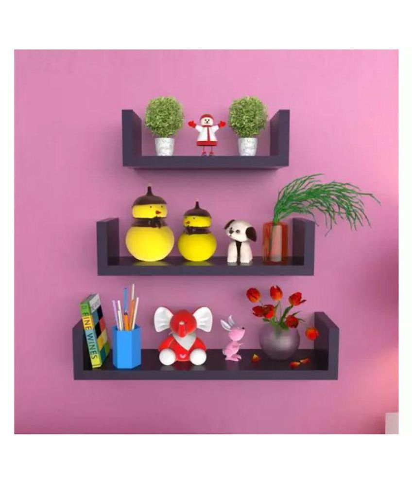 Onlineshoppee U Shape Floating Wall Shelves Set of 3 - Black