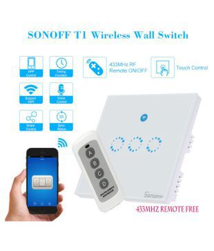 Sonoff T1-UK 3 GANG WIFI Wall Touch Switch Alexa enabled
