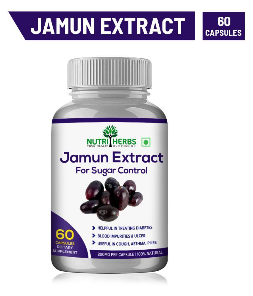 Nutriherbs Jamun Extract 100% Natural & Organic  60 Capsule 800 mg Pack Of 1