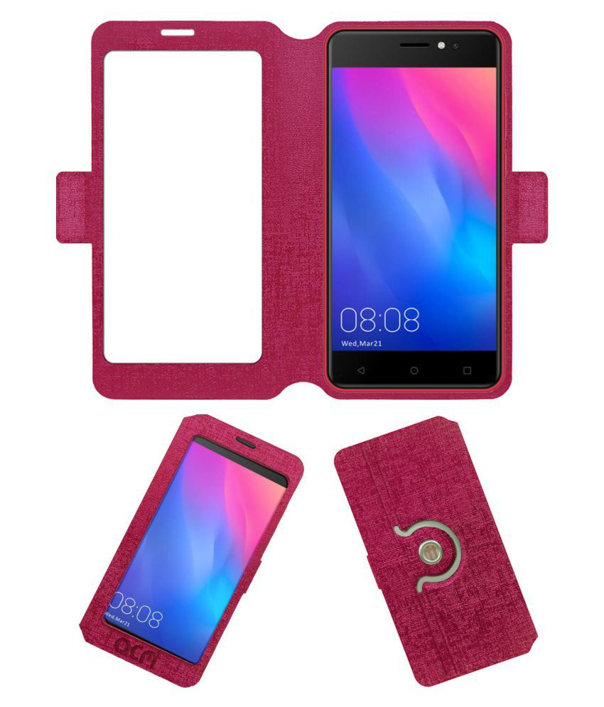 KXD W50 Flip Cover by ACM - Pink Dual Side Stand