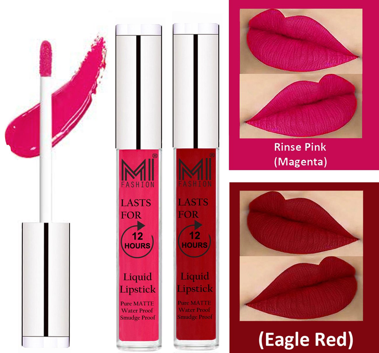 MI FASHION Liquid Lipstick Magenta,Eagle Red Pack of 2