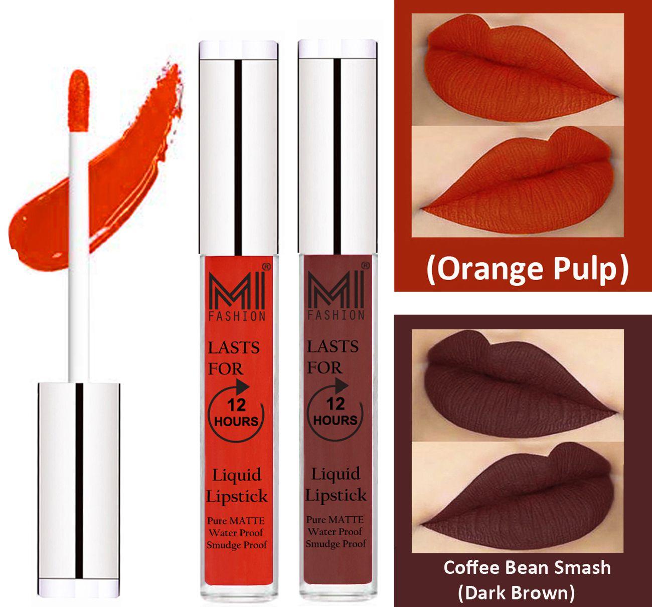 MI FASHION Liquid Lipstick Orange Pulp,Dark Brown 3 ml Pack of 2