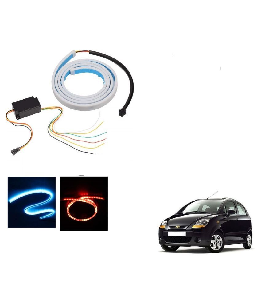 Auto Addict LED Dicky Light Ice Blue & Red DRL Brake with Side Turn Signal & Parking Indication Dicky, Trunk, Boot Strip Light For Chevrolet Spark