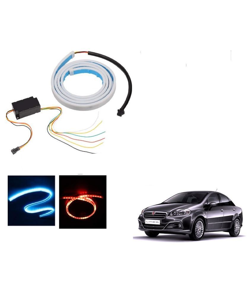 Auto Addict LED Dicky Light Ice Blue & Red DRL Brake with Side Turn Signal & Parking Indication Dicky, Trunk, Boot Strip Light For Fiat Linea