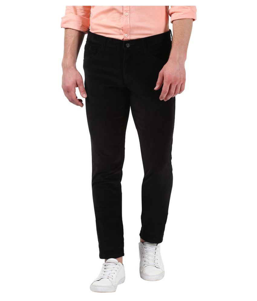 Parx Black Tapered -Fit Flat Trousers