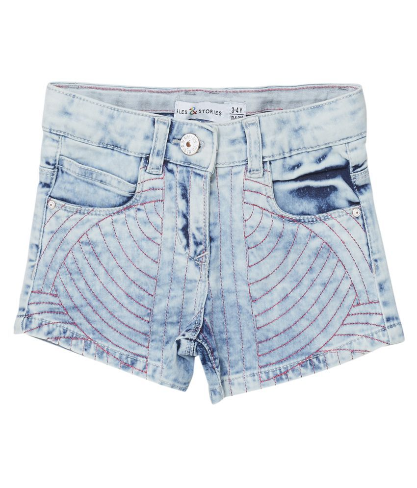 Tales & Stories Girls Light Blue Regular Fit embroidered Shorts