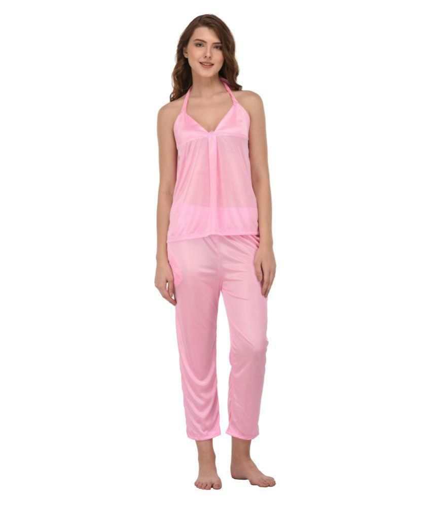 You Forever Satin Nightsuit Sets - Pink