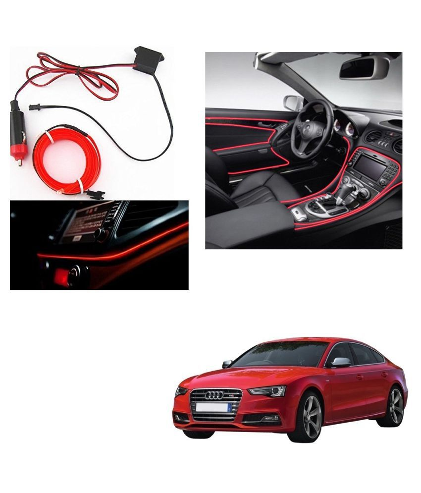 Auto Addict Red Color 12V 5Mtrs Roll Cold Light Car Socket Strip Neon Lamp Creator Decor Dashboard Interior Lighting For Audi S5