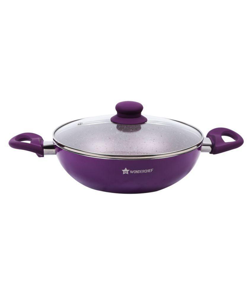 Wonderchef Royal Velvet Wok with Lid (Purple) Non-Stick Aluminum Pot 20 cm ml