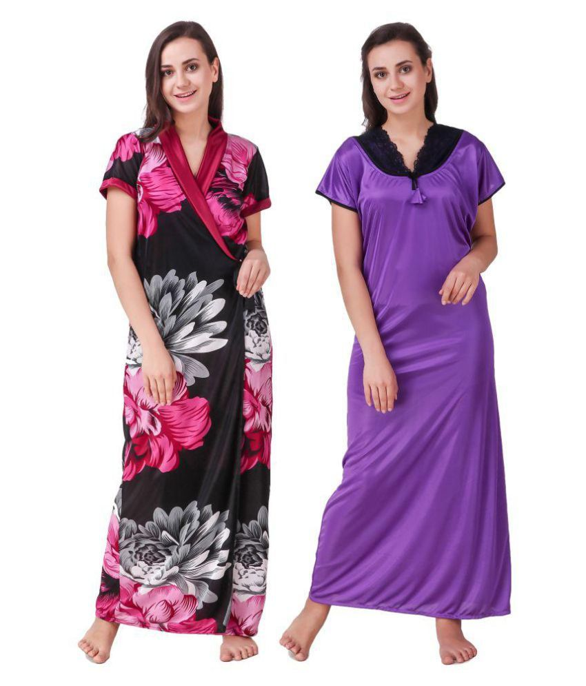 Lezaira Satin Nighty & Night Gowns - Multi Color
