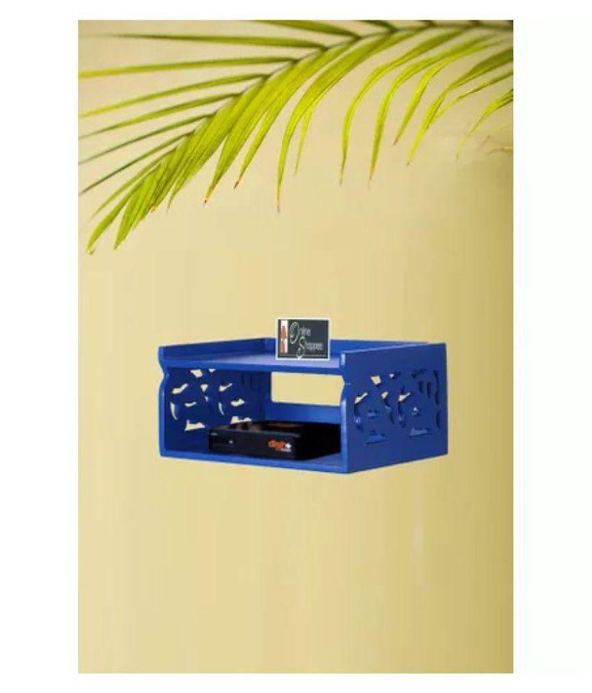 Onlineshoppee Wooden Beautiful Design Set top box Wall Shelf Colour- Blue