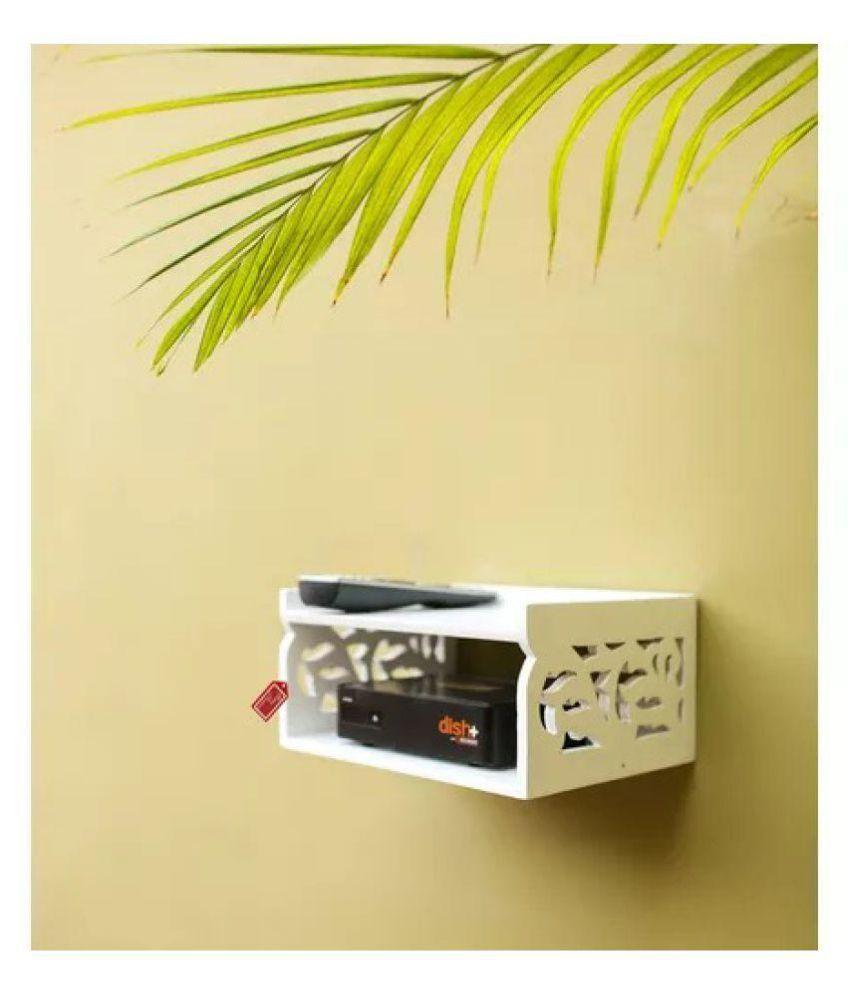 Onlineshoppee Wooden Beautiful Design Set top box Wall Shelf Colour-White