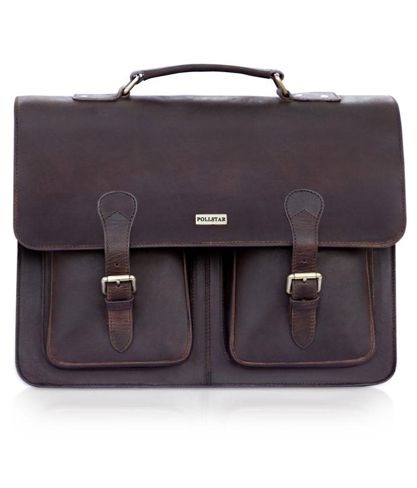 POLLSTAR MB9995BN Brown Leather Office Messenger Bag