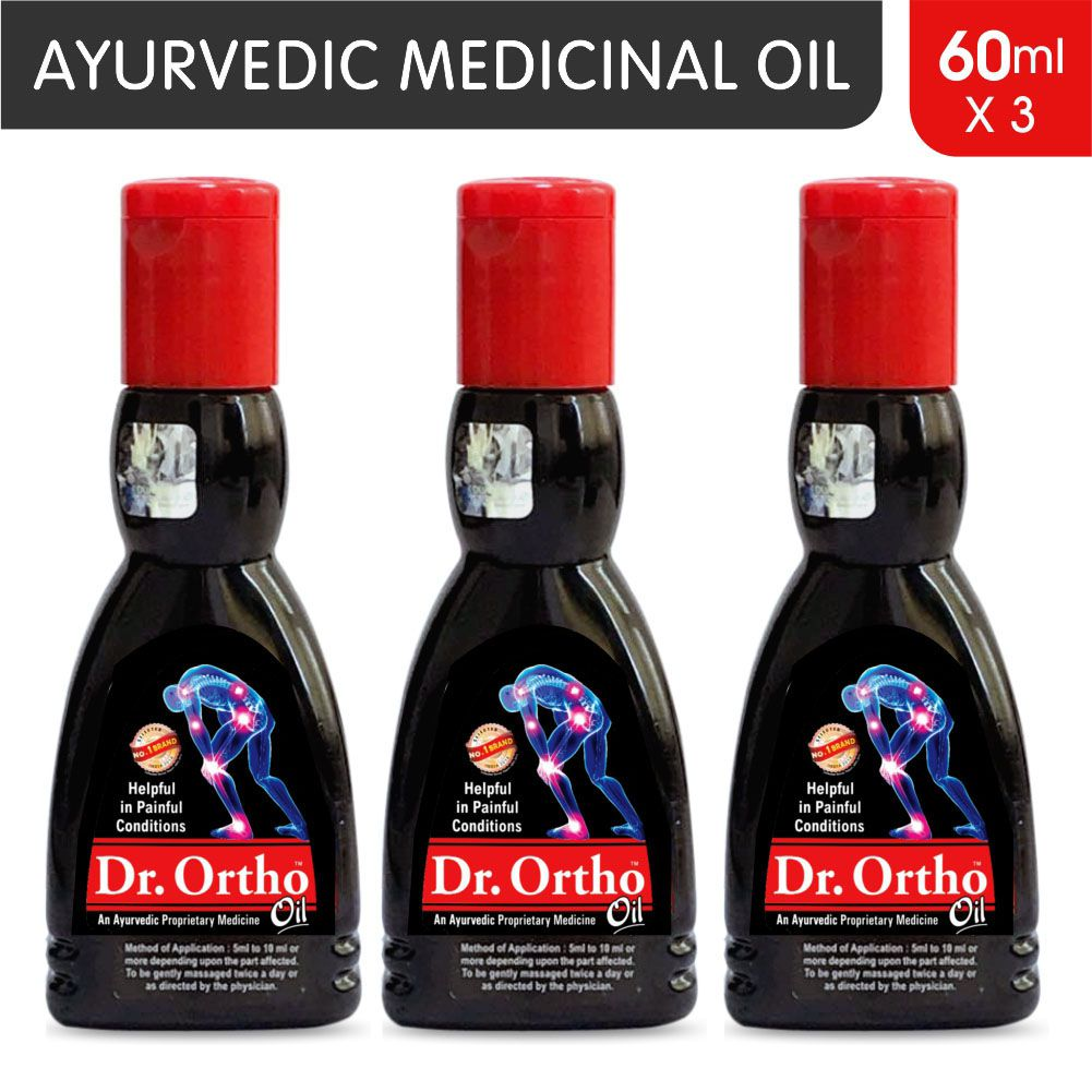 Dr Ortho Oil 60 ml, Pack of 3 (Ayurvedic Medicine, Helpful in Joint Pain,  Back Pain, Knee Pain, Leg Pain, Shoulder Pain, Wrist Pain, Neck Pain, Ankle