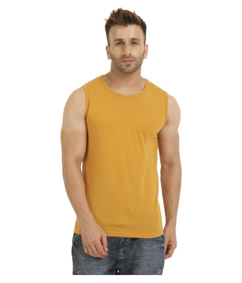 CHKOKKO Cotton Sleeveless Solid Regular Casual Round Neck T Shirts Vests or Tank Tops for Men