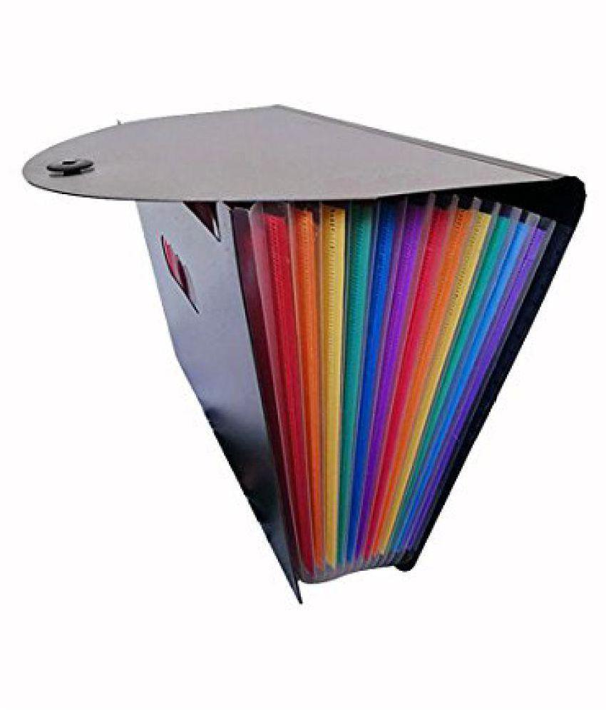 Techtest 24 Pocket Expanding File Folder Large Plastic Rainbow Expandable File Organizer Self Standing Accordion A4 Document Folder