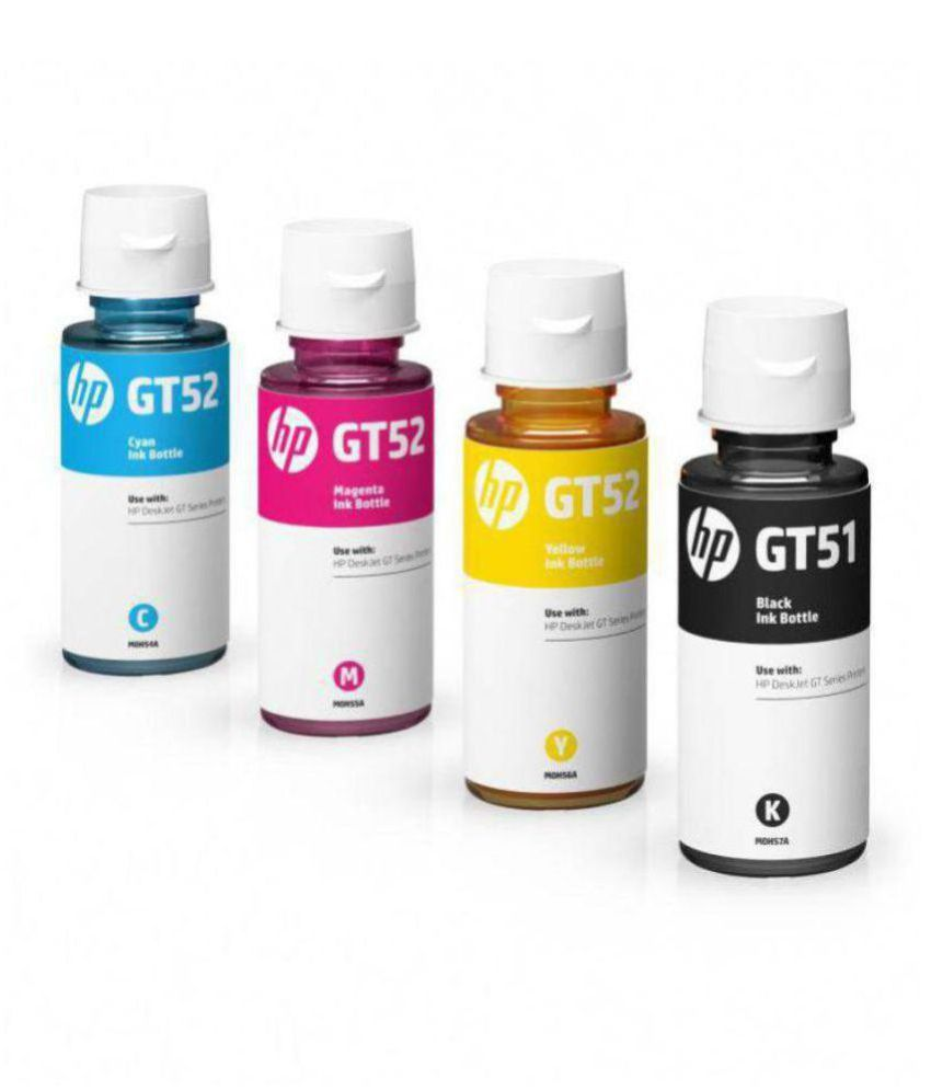 HP GT51/52 Multicolor Pack of 4 Ink bottle for HP DeskJet GT 5810 and 5820  All-in-One Printers, HP Ink Tank 310 series