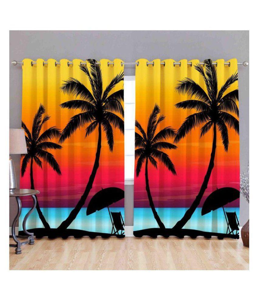WACO CREATION Single Door Blackout Room Darkening Eyelet Polyester Curtains Multi Color