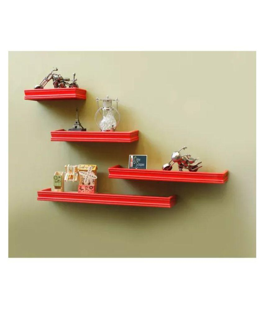 Onlineshoppee Beautiful MDF Red Rectangular Wall Shelf