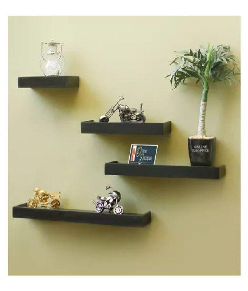 Onlineshoppee Beautiful Wooden Black Rectangular Wooden Wall Shelf set of 4