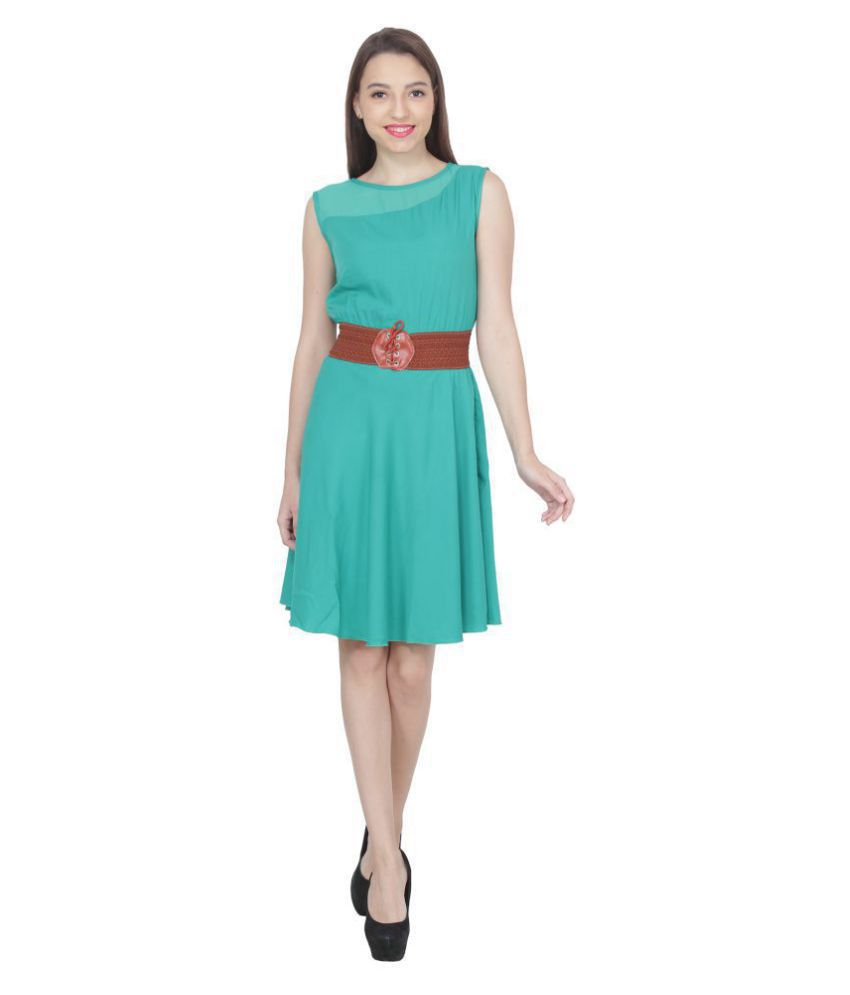 8e27a8ad2b1f My Swag Crepe Green Fit And Flare Dress - Buy My Swag Crepe Green Fit And Flare  Dress Online at Best Prices in India on Snapdeal