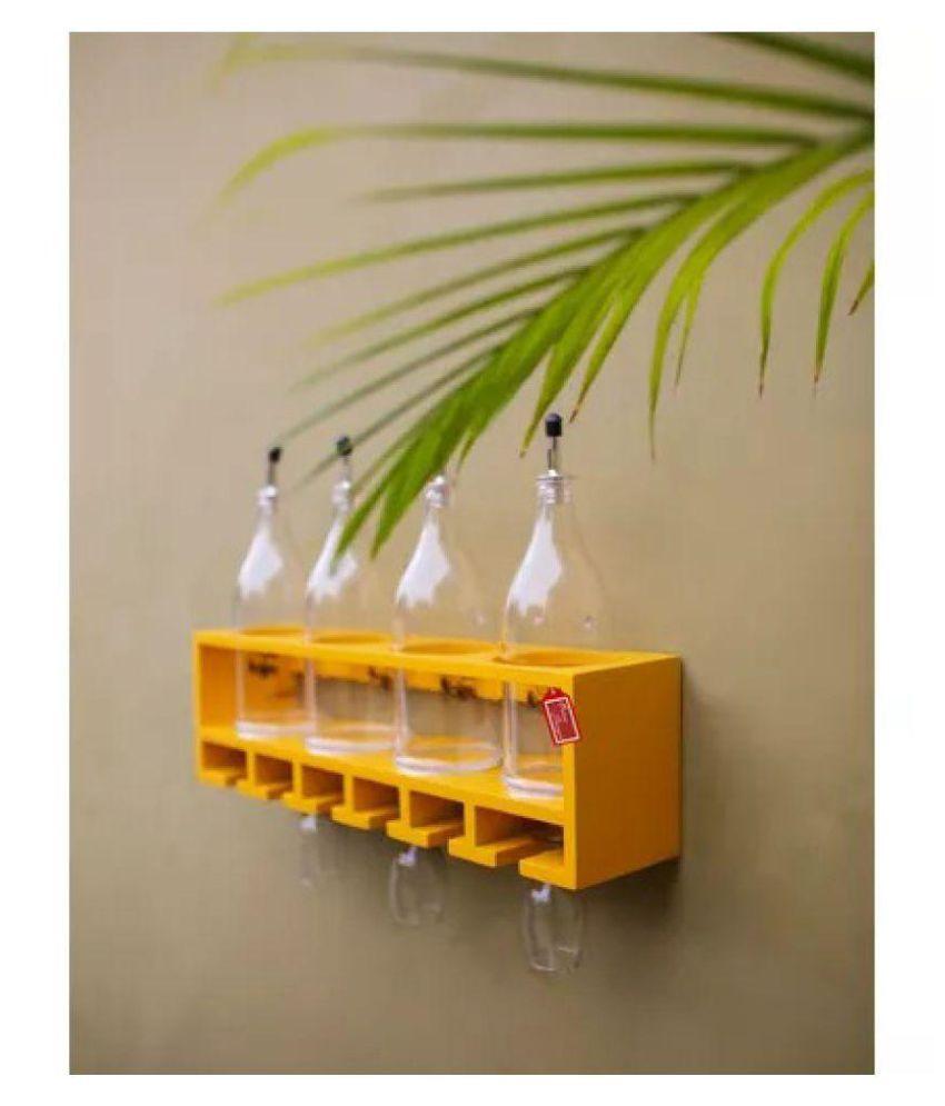 Onlineshoppee Unique Wooden Bottle Rack (Yellow , 4 Bottles Holder)