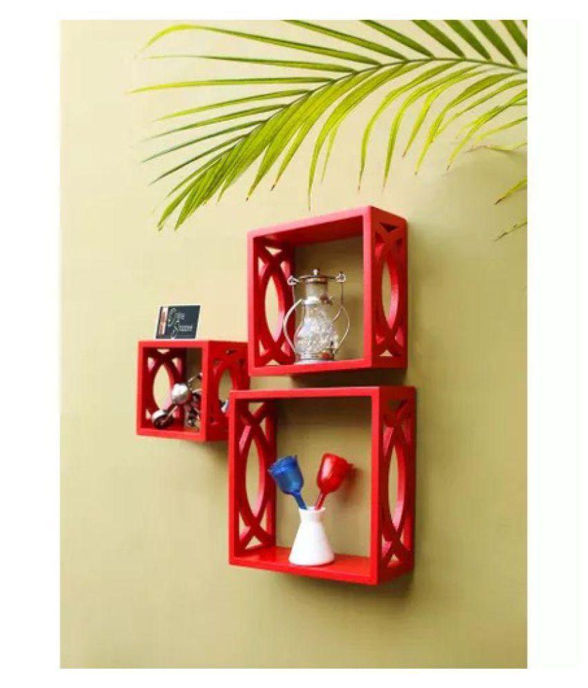 Onlineshoppee Fancy handicraft design Wall Decor MDF Wall Shelf -Red