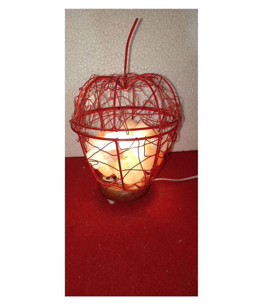 Rm Himalayan Rock salt lamp In Metal Stand With Wood Vase Night Lamp Red - Pack of 1