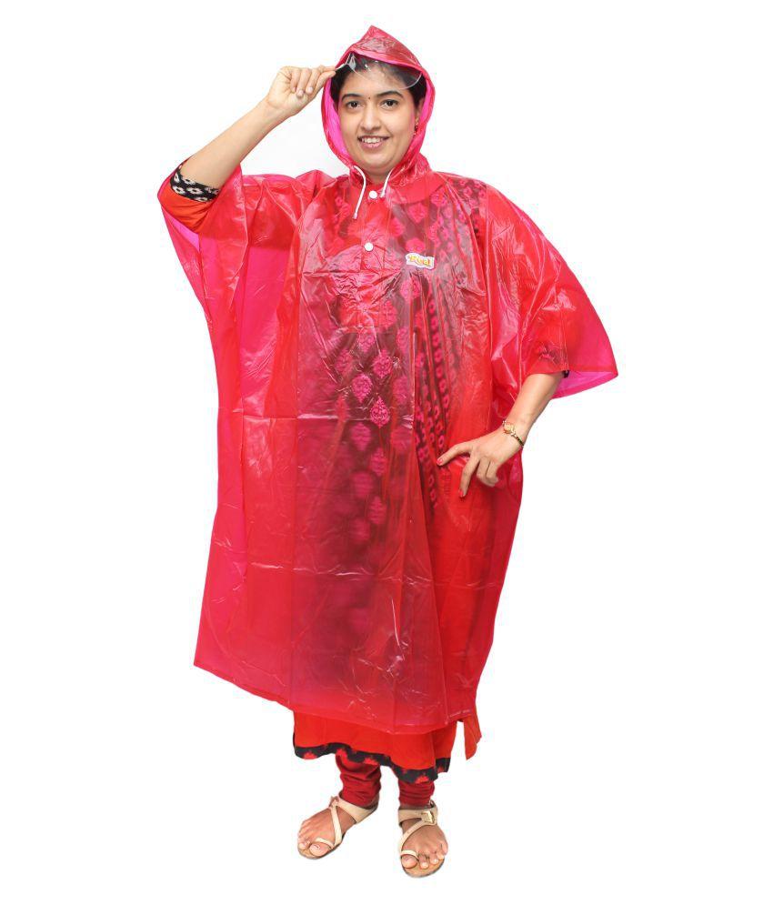Goodluck PVC Long Raincoat - Red