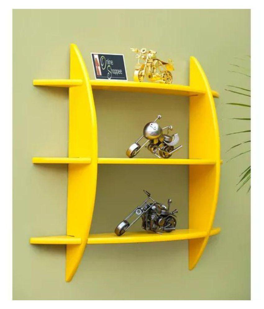 Onlineshoppee Beautiful Yellow 3 Tier MDF Wall Shelves/Rack - Yellow