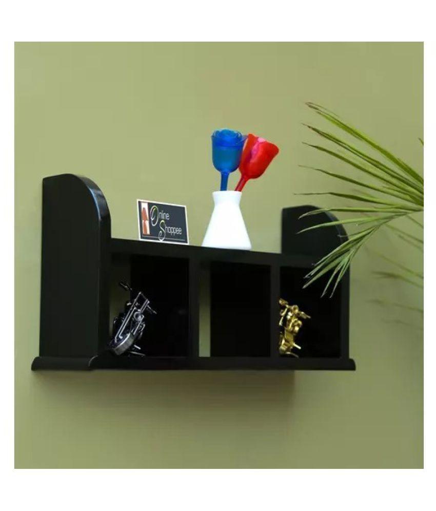 Onlineshoppee Beautiful Black Wooden Wall Shelves/Rack