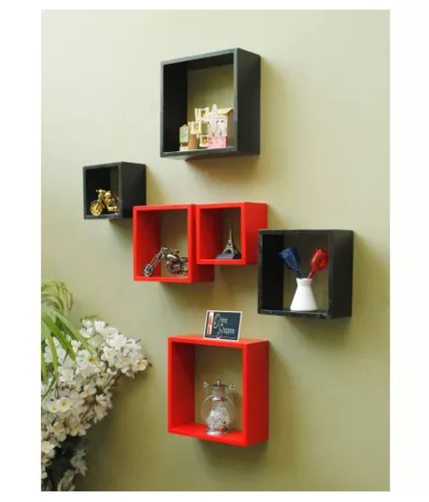 Onlineshoppee Home Decor Premium Solid Wood Shelf Rack Wall Bracket handicraft design Color-Red/Black