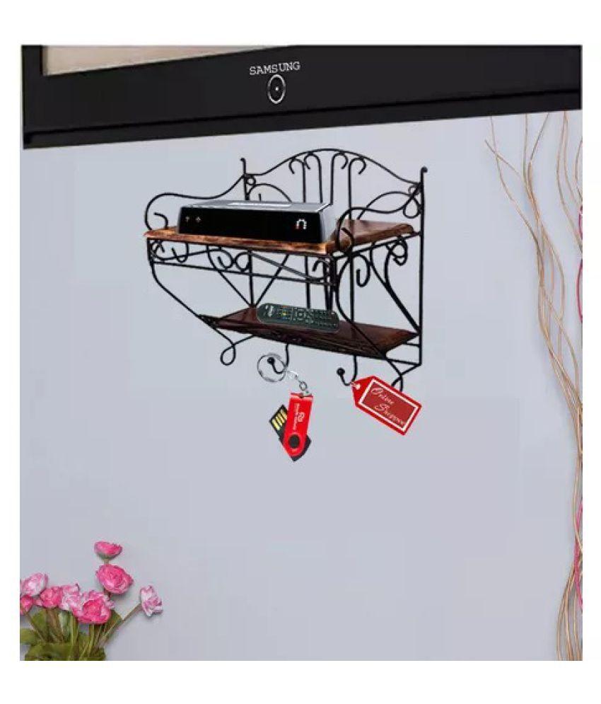 Onlineshoppee Wooden & Iron Beautiful Design Set top box Wall Shelf
