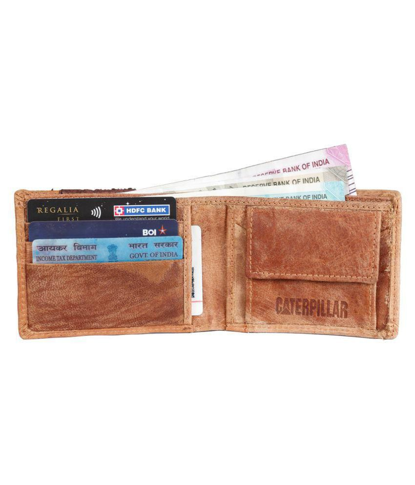 4779ec158e CAT LEATHER WALLET Leather Brown Formal Short Wallet: Buy Online at ...