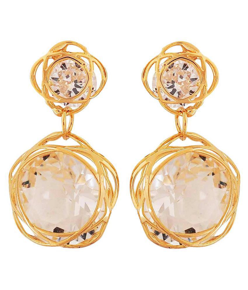 Maayra Designer Earrings Golden Dangler Drop College Fashion Earrings