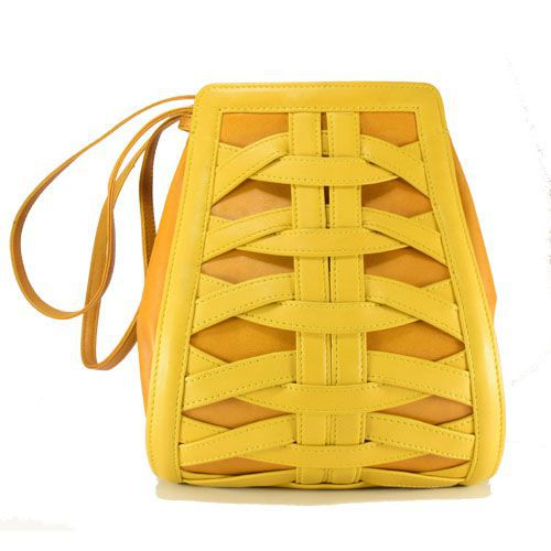 LMS Gani Mohamed and co. Yellow Pure Leather Backpack