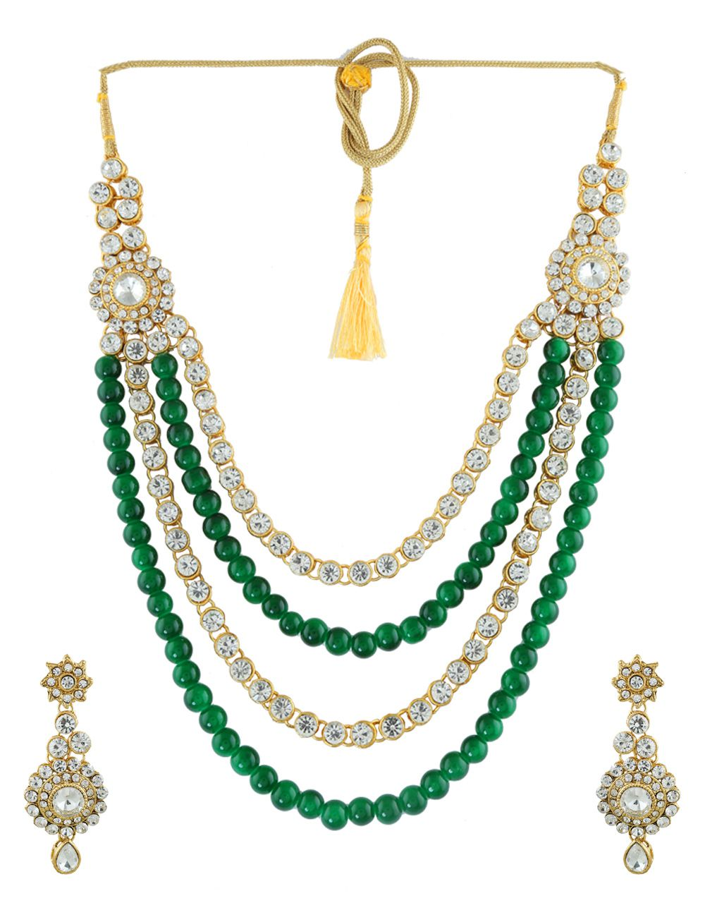 Anuradha Art Green Colour Very Classy Studded With White Stones And Beads Styled Traditional Necklace Set For Women/Girls