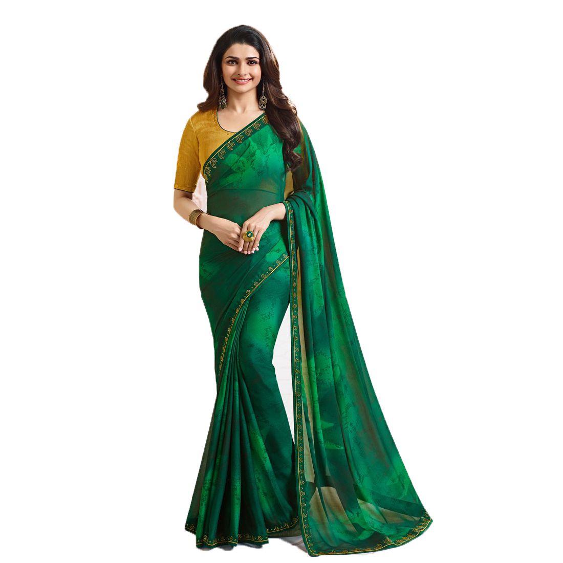 Genius Creation Green Silk Saree