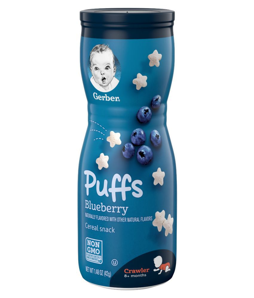 Gerber Gerber Puffs Baby Food Blueberry Cereal Snack 42g Snack Foods for 6 Months + ( 42 gm )