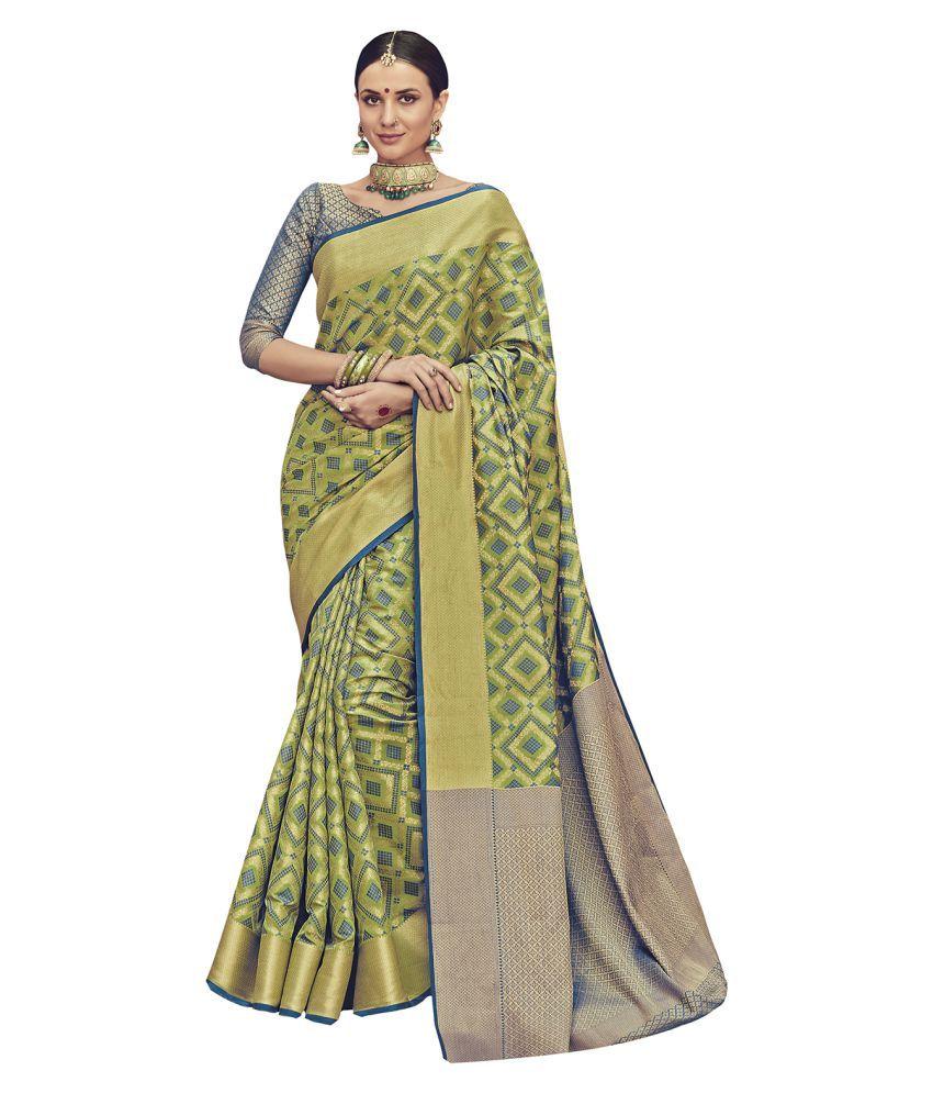 Saree Mall Green Banarasi Silk Saree