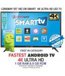 LONGWAY ACT-55 140 cm ( 55 ) Ultra HD (4K) LED Television With 1+1 Year Extended Warranty