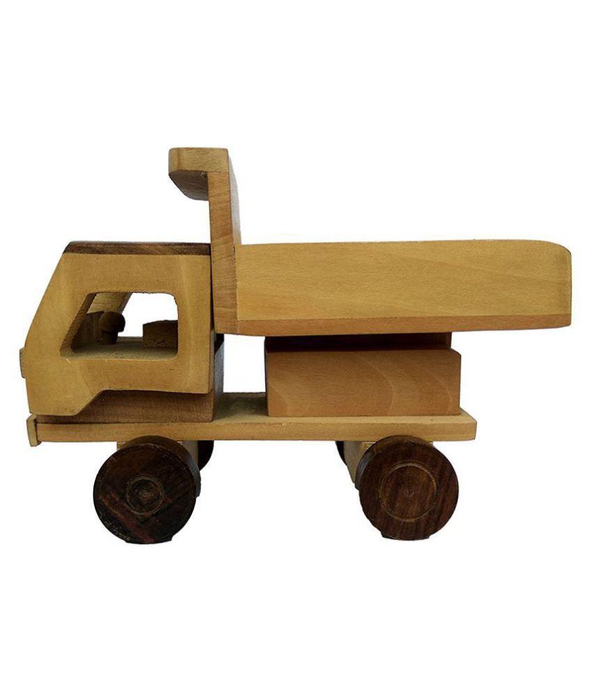 BuzyKart Beautiful Wooden Classical Dumper Truck Toy Cum Showpiece