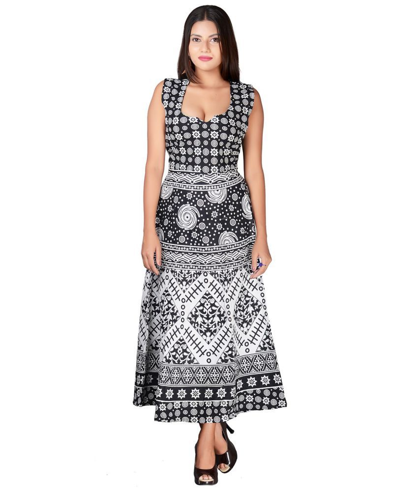 fabcolors Cotton Black A- line Dress